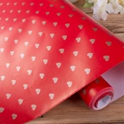 """бумага """"золотые сердца на красном"""" 70см * 10м."""