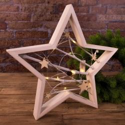 звезда с LED подсветкой деревянная