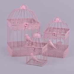 Декоративные клетки 4-угольные набор 3 шт (розовые)