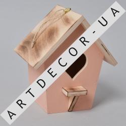 скворечник декоративный деревянный (розово -коралловый)