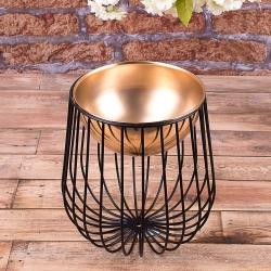 Металическая ваза Золотая круглая на черной ножке-клетке