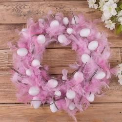 Венок пасхальный розовый