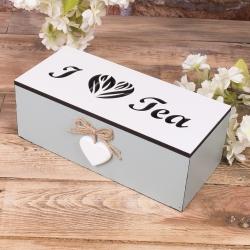 """Деревянная коробка под чай """"I love tea"""""""