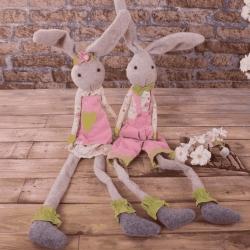 заяц тканевый в комбинезоне/платье розовый 45см