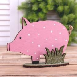 """деревянная статуетка """"свинка в горошек"""""""