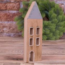 """деревянная статуетка """"домик с блестками узкий"""""""