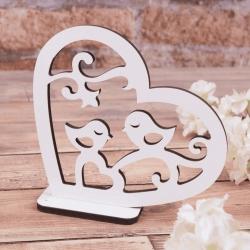 """деревянная статуэтка """"сердце и птички"""""""