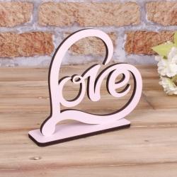 """деревянная статуэтка """"розовое сердце love"""""""
