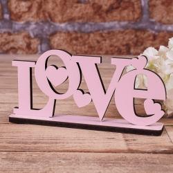 """деревянная статуэтка """"розовое сердце love с сердечками"""""""