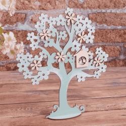 декор - дерево мятное с цветами 27см