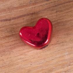 Металлическая подвеска сердце красное