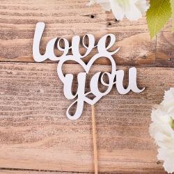"""деревянная надпись на палочке """" Love you """""""
