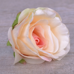 """Головка розы """"аква"""" белая с розовой серединкой lt.pink"""