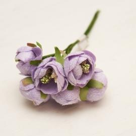Букетик мини ранункулюс 6 шт фиолетовый
