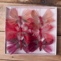 бабочки из перьев 8см красные