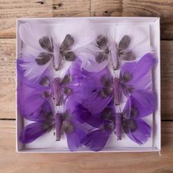 бабочки из перьев 8см фиолетовые