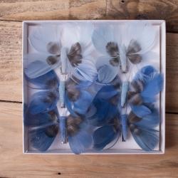 бабочки из перьев 8см синие