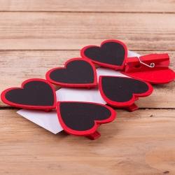 """прищепки """"сердце с крейдовой табличкой"""" красные"""