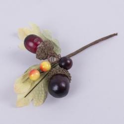 пучок желуди с ягодами и листьями бордовые