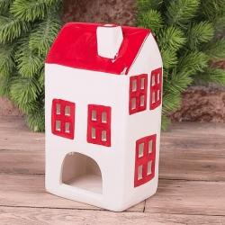 Подсвечник домик из керамики с красными окнами (широкий)