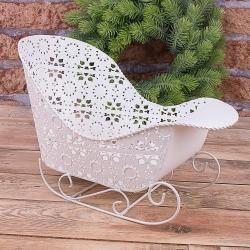 Санки-кашпо белые декоративные овальные