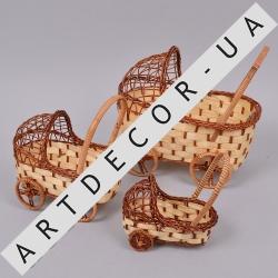 Кашпо - коляска из лозы в наборе (3шт)