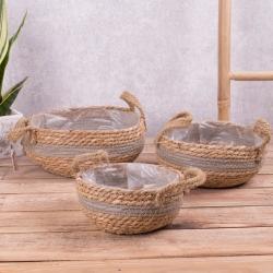 кашпо плетенное из соломы (набор 3шт)