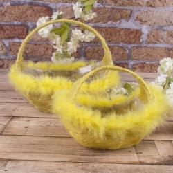 """набор корзин из сизали """"лодочка"""" желтые"""