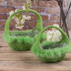 """набор корзин из сизали """"лодочка"""" зеленые"""