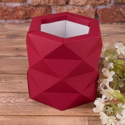 """Коробка """"многогранная размер """"S"""""""" бордовая"""