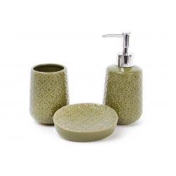 Набор для ванной (3 предмета): дозатор 375мл, стакан 350мл для зубных щеток, мыльница, цвет - зеленый
