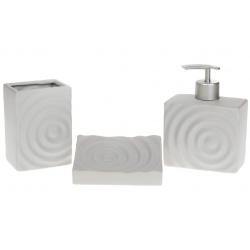 Набор для ванной (3 предмета) Круги: дозатор 450мл, стакан 400мл для зубных щеток, мыльница, цвет - серый