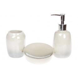 Набор для ванной (3 предмета) Омбре: дозатор 330мл, стакан 300мл для зубных щеток, мыльница, цвет - стальной с белым