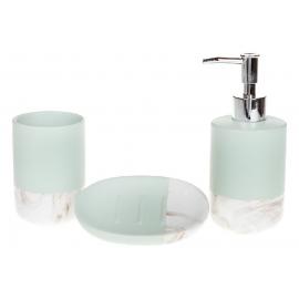 Набор для ванной (3 предмета): дозатор 350мл, стакан 300мл для зубных щеток, мыльница, цвет - мятный+белый мрамор