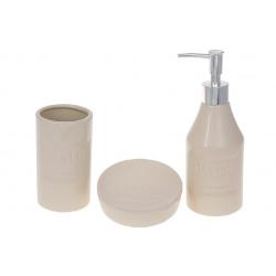 Набор для ванной (3 предмета) Bath: дозатор 350мл, стакан для зубных щеток 270мл, мыльница, цвет - молочный