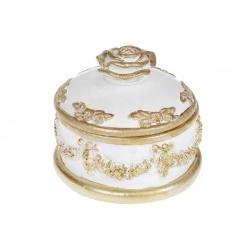 Шкатулка для украшений Роза, 14см, цвет - белый с золотом