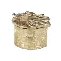 Шкатулка для украшений Монстера с птичкой, 12см, цвет - золото