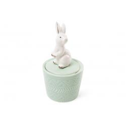 Шкатулочка фарфоровая Кролик 13.5см, цвет - мятный