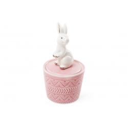 Шкатулочка фарфоровая Кролик 13.5см, цвет - розовый