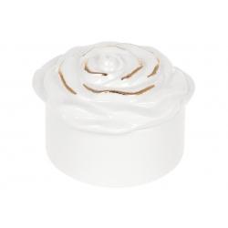 Шкатулка фарфоровая Розочка, 10см, цвет - белый с золотом