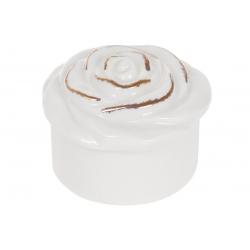 Шкатулка фарфоровая для украшений Розочка, 7.5см, цвет - белый глянец с золотом