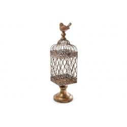Декоративная клетка-подсвечник с птичкой, 47см, цвет - бронза