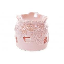 Арома-лампа фарфоровая с объемным декором Незабудки, 10.5см, цвет - розовый перламутр