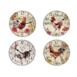 Часы настенные деревянные Петух