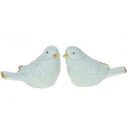 Декор фарфоровый Птичка, 7.5см, 2 дизайна, цвет - голубой мат с золотом