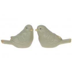 Декор фарфоровый Птичка, 7.5см, 2 дизайна, цвет - оливковый мат с золотом