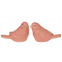 Декор фарфоровый Птичка, 7.5см, 2 дизайна, цвет - персиковый мат с золотом