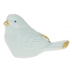 Декор фарфоровый Птичка, 6см, цвет - голубой мат с золотом