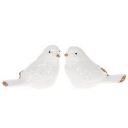 Декор фарфоровый Птичка, 6см, 2 дизайна, цвет - белый глянец с золотом