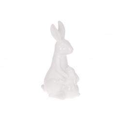 Декоративная керамическая фигура Кролик с крольченком 44см, цвет - белый